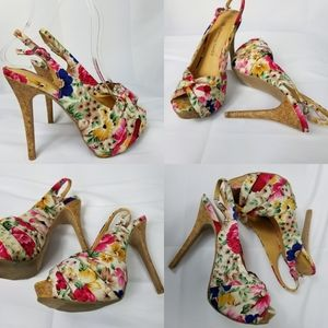 Charming Charlie floral heels open top